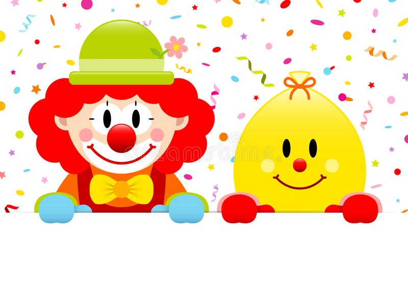 Red Hair Clown And Yellow Ballon Holding Banner Streamers Confetti royalty ilustracja