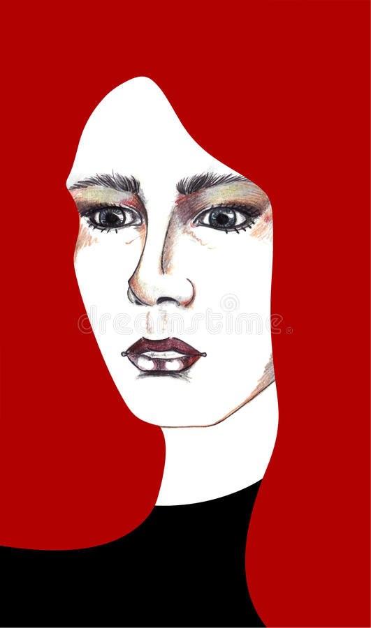 Beautiful abstract dramatic girl with long red hair vector vector illustration