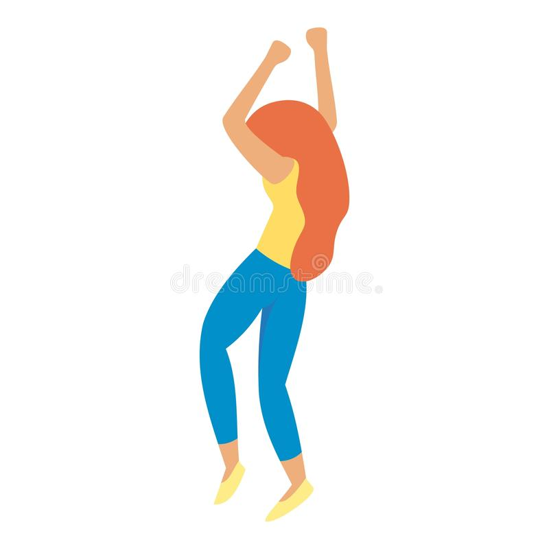 Red hair girl dancing icon, flat style. Red hair girl dancing icon. Flat illustration of red hair girl dancing vector icon for web design stock illustration