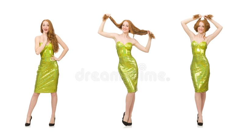 Red hair girl in sparkling green dress isolated on white royalty free stock photo