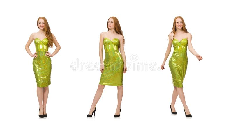 Red hair girl in sparkling green dress isolated on white royalty free stock photography