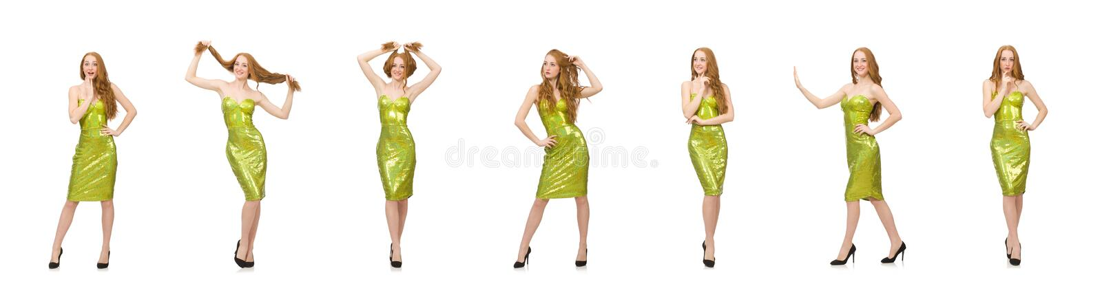 Red hair girl in sparkling green dress isolated on white royalty free stock images