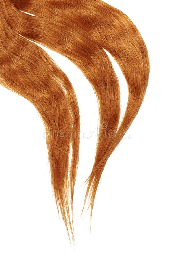 Red hair isolated on white background. Long disheveled ponytail. Natural healthy hair isolated on white background. Detailed clipart for your collages and royalty free stock photo