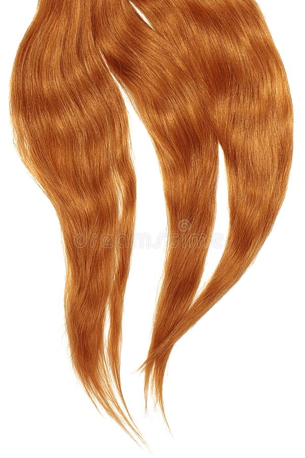 Red hair isolated on white background. Long disheveled ponytail. Natural healthy hair isolated on white background. Detailed clipart for your collages and stock photo