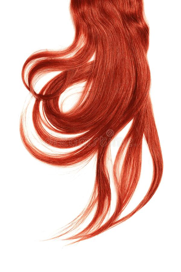 Red hair, isolated on white background. Long and disheveled ponytail. Natural healthy hair isolated on white background. Detailed clipart for your collages and royalty free stock image