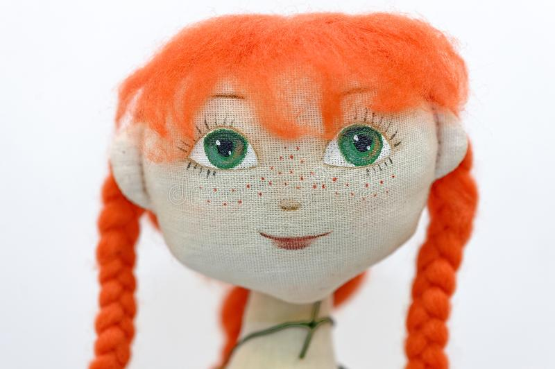 Red hair rag doll head royalty free stock photos