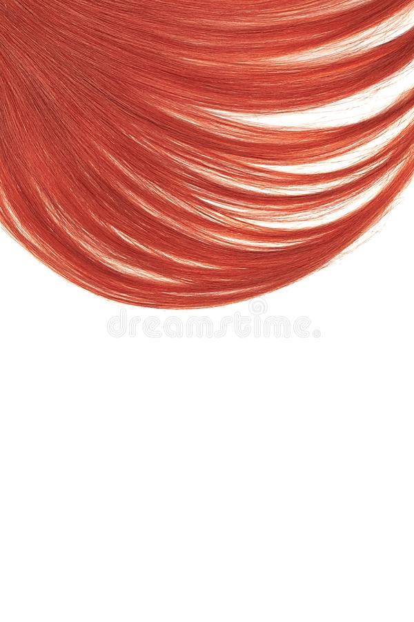 Red hair on white background. Flat lay and copy space. Natural healthy hair isolated on white background. Detailed clipart for your collages and illustrations royalty free stock images