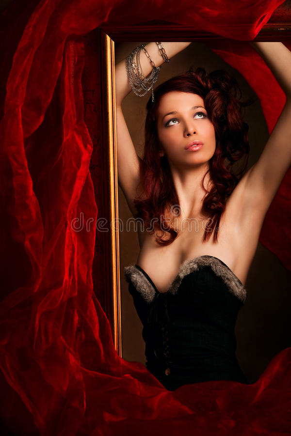 Red hair woman stock images