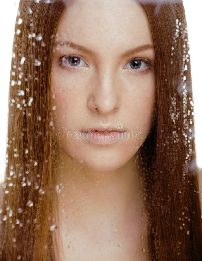 Download Red Hair Woman With Drops On Her Face Stock Photo - Image of drop, human: 32869986