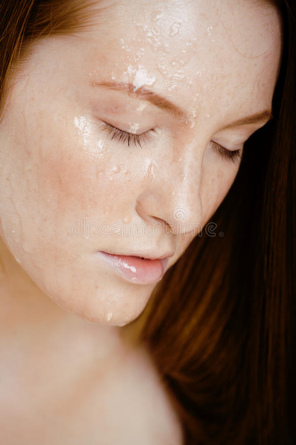 Download Red Hair Woman With Drops On Her Face Stock Photo - Image of people, cold: 32869990