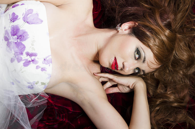 Download Red Hair. Woman Lying On Her Sofa Stock Image - Image: 25488889