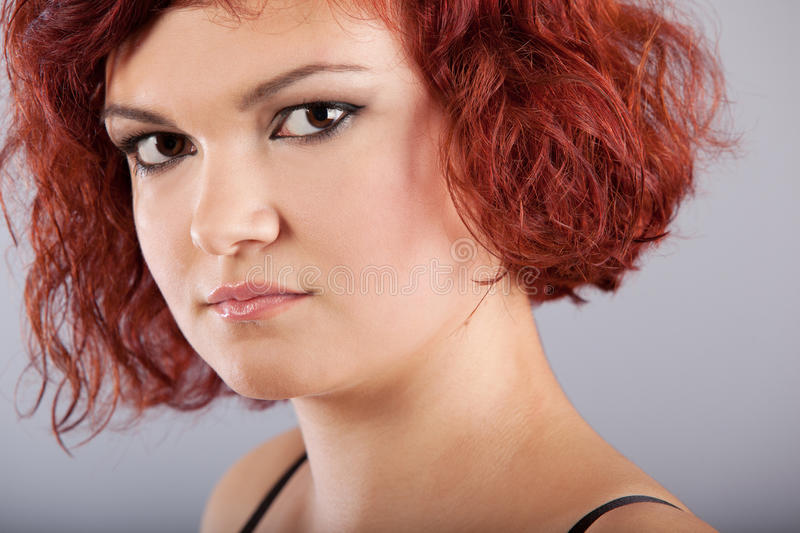 Download Red hair woman portrait stock image. Image of happy, female - 27198979