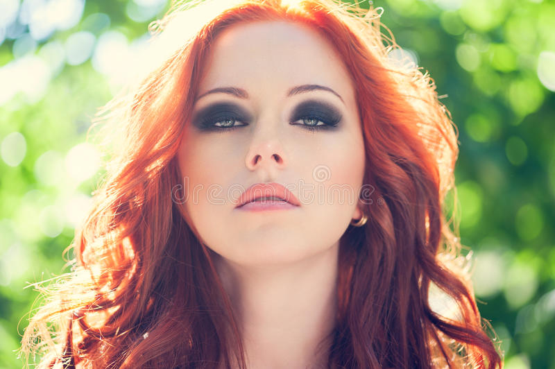 Red hair woman royalty free stock image