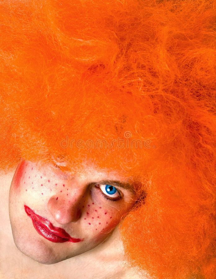 Download Red Haired Angry Man With A Clown Make-up Stock Image - Image of lipstick, make: 2052963