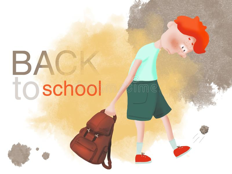 Red-haired boy bully does not want to go to school royalty free illustration