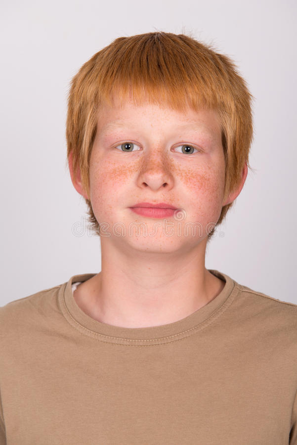 Red haired boy stock photos