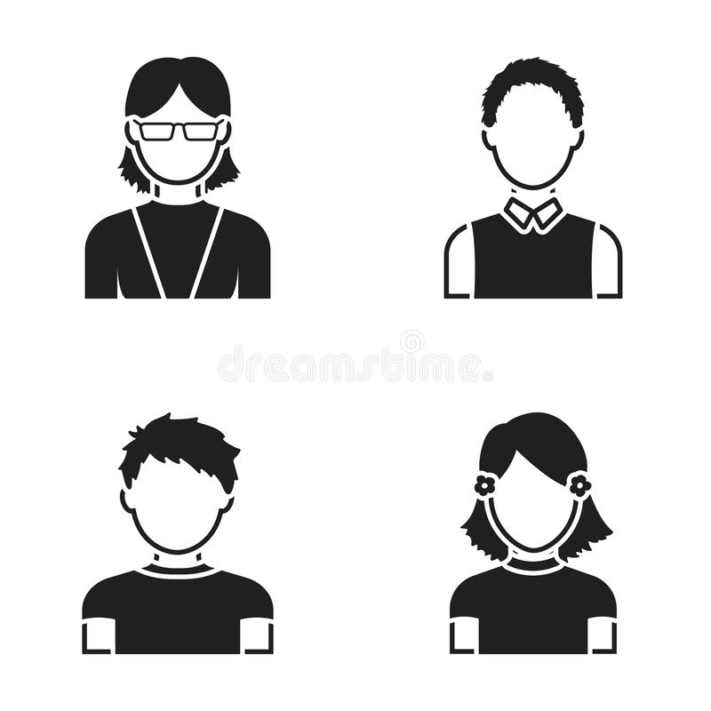 Red-haired boy, teen girl, grandmother wearing glasses.Avatar set collection icons in black style vector symbol stock vector illustration