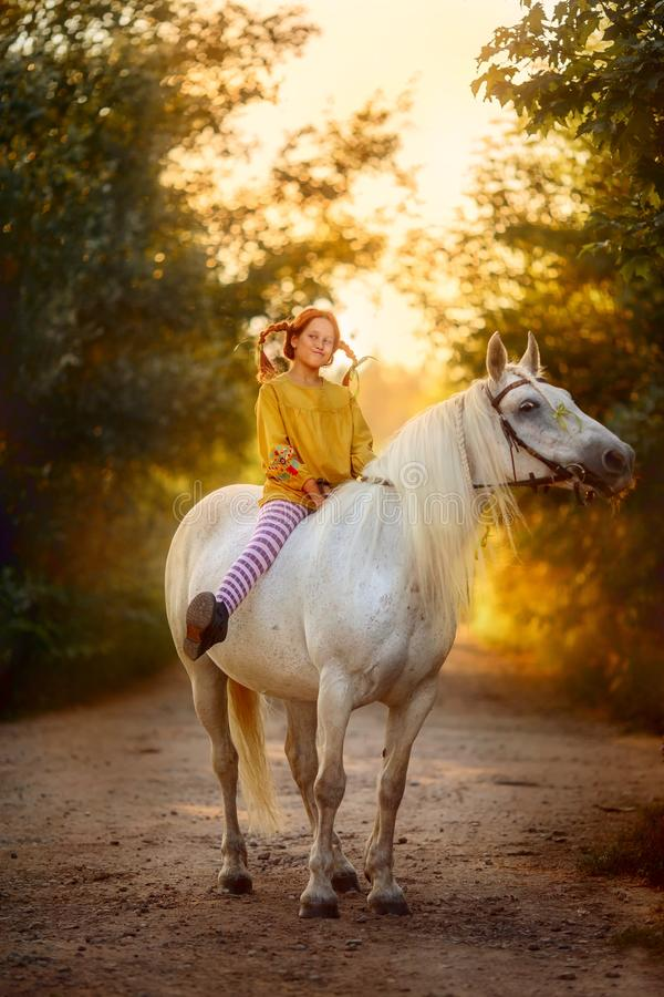 Pippi Longstocking with her horse stock image