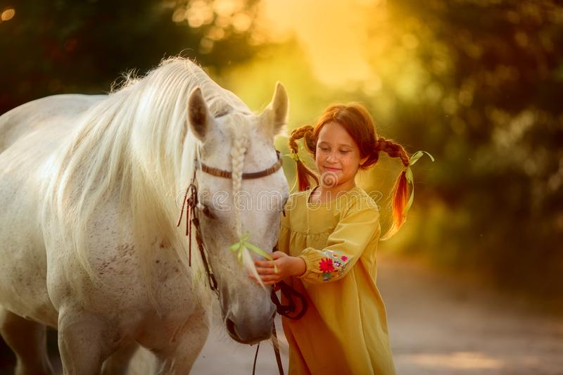 Pippi Longstocking with her horse stock photo