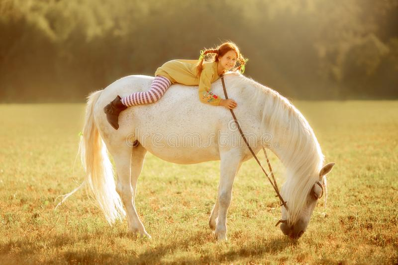 Pippi Longstocking with her horse royalty free stock photos