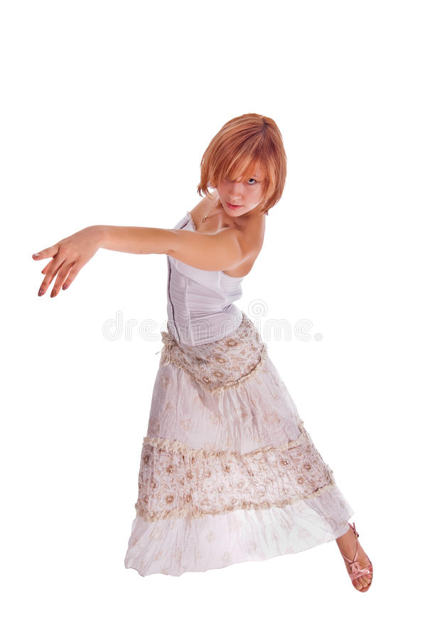 Red haired dancer on white royalty free stock images