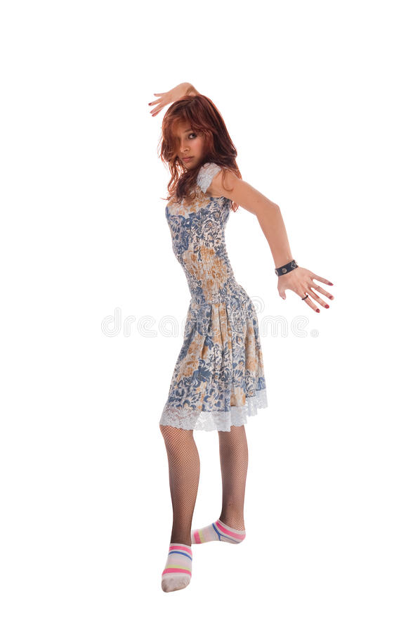 Red haired dancer on white royalty free stock photo