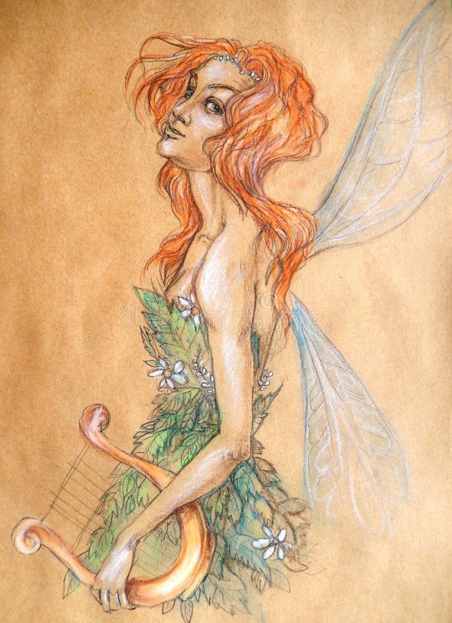 A red-haired fairy with a harp vector illustration