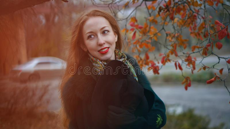 Red-haired girl in autumn park royalty free stock images