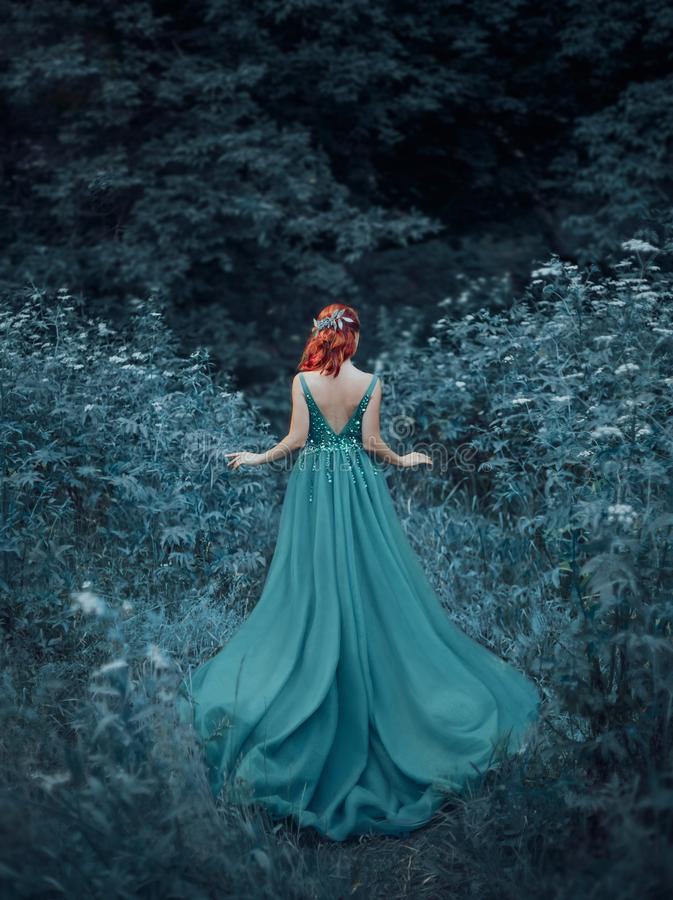 Red-haired girl in a blue, sapphire, luxurious dress in the floor, with an open back and a long train. The princess. Walks in a fairy forest. Photo from the stock images