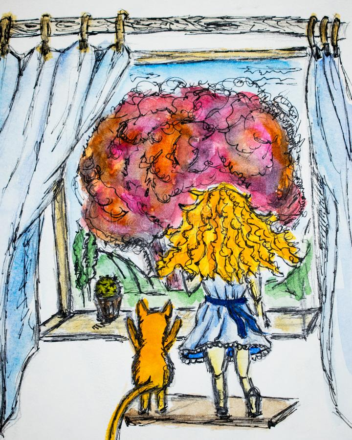 Red-haired girl with curly hair next to a red cat, they look out the window watercolor drawing, illustration stock illustration