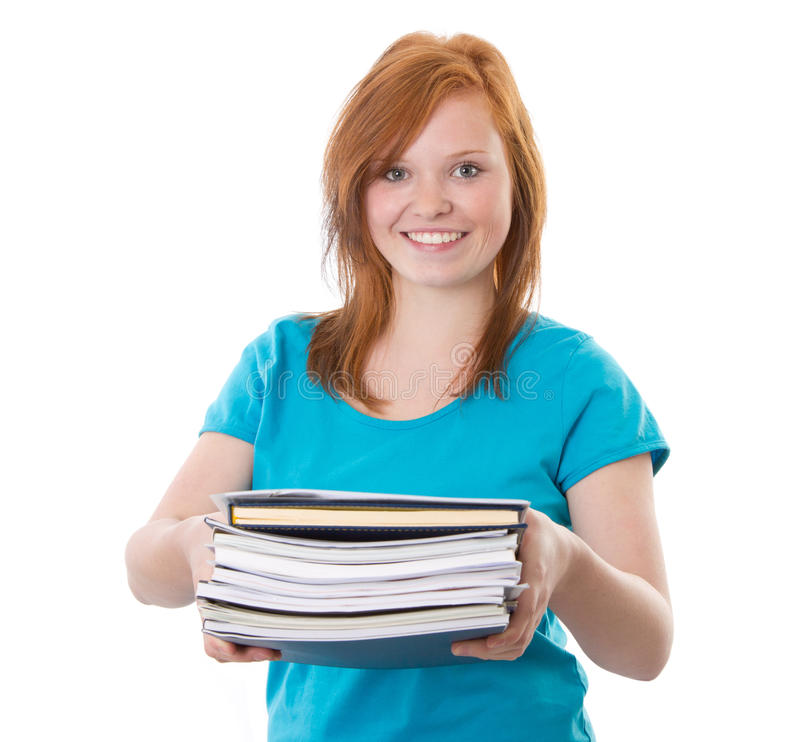 Red-haired girl with documents stock image