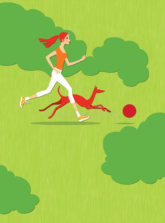 Red-haired girl with a red dog running along the green field behind a red ball. Summer. Fitness.  vector illustration