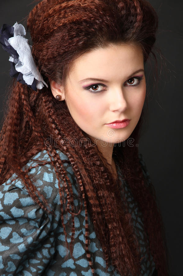Download Red-haired Girl With Grooved Hair Stock Photo - Image: 18694298