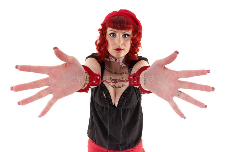 Download Red Haired Girl With Handcuffs Stock Image - Image: 29014005