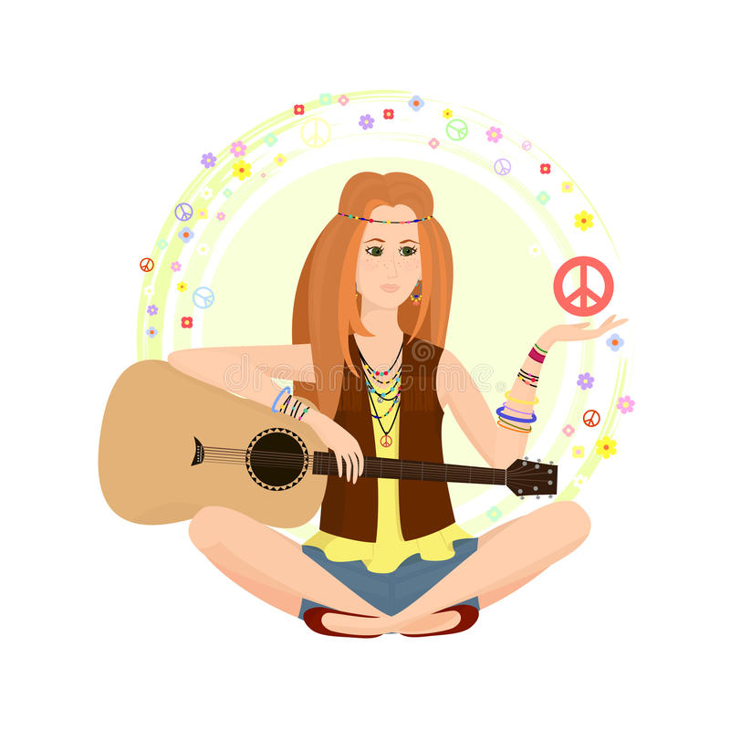 Red-haired girl of hippie stock illustration