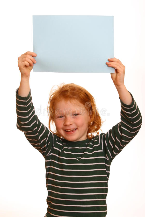 Download Red-haired Girl Holds Sign Stock Photography - Image: 15402882