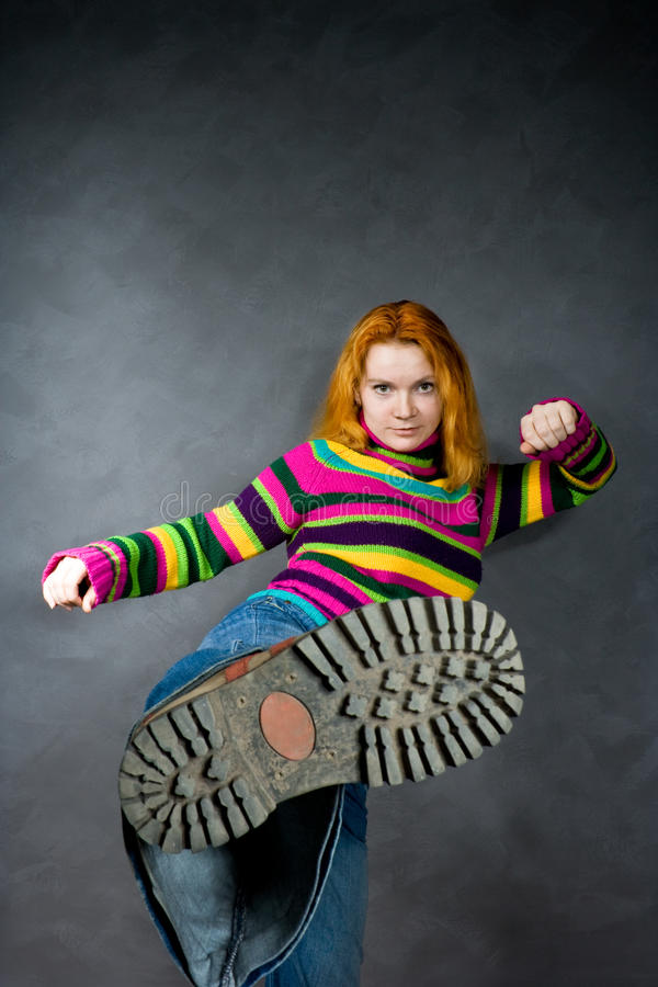 Download Red-haired Girl Kicks Royalty Free Stock Images - Image: 11570309