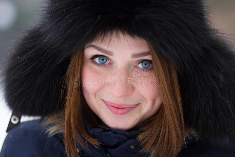 Download Red Haired Girl Outdoors In Winter Stock Photography - Image: 28912022