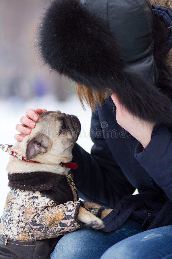 Download Red Haired Girl With Pug Dog Stock Photo - Image: 28912110