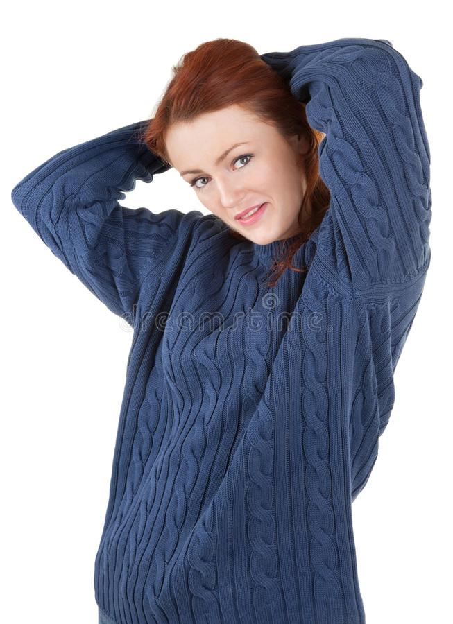 Download Red-haired Girl Is Trying To Keep Warm Stock Photo - Image: 12607358