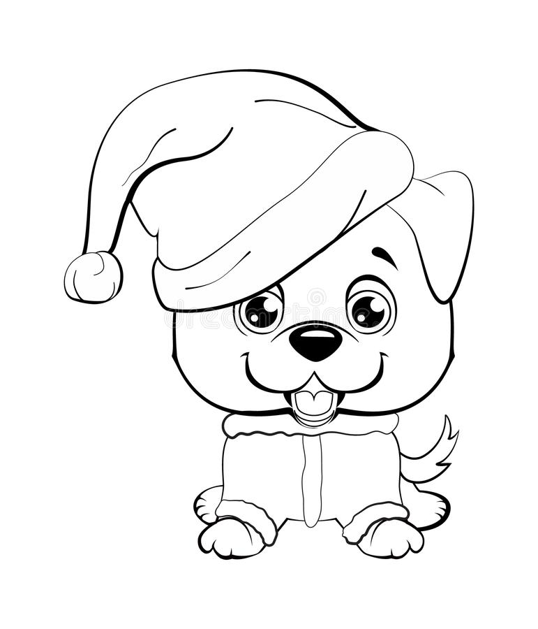 Red-haired happy dog in a red jacket with a white collar and with red hat with a white pompon on a white background. vector illustration
