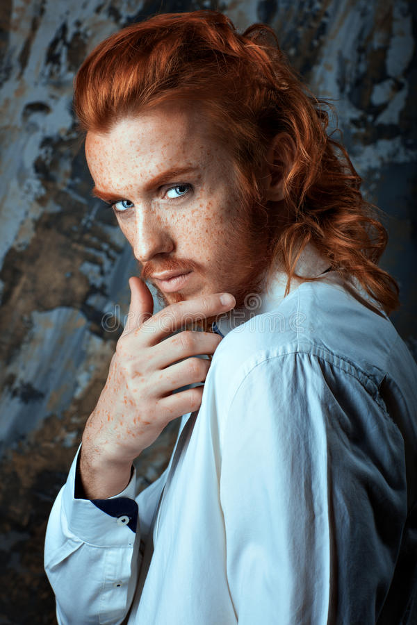 Red-haired Metrosexual Man. Stock Image - Image of color
