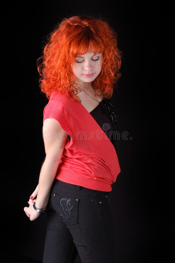 Download Red-haired pretty girl stock image. Image of happy, fashion - 12376423