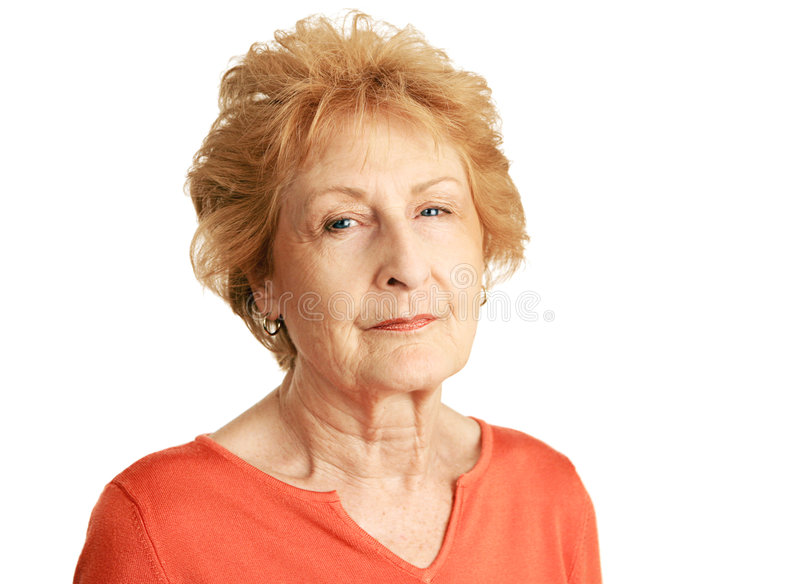 Red Haired Senior - Concerned royalty free stock photos