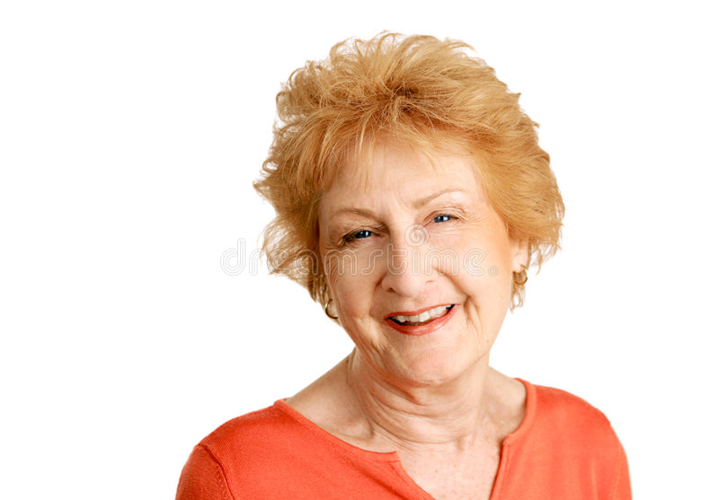 Red Haired Senior - Happy royalty free stock image