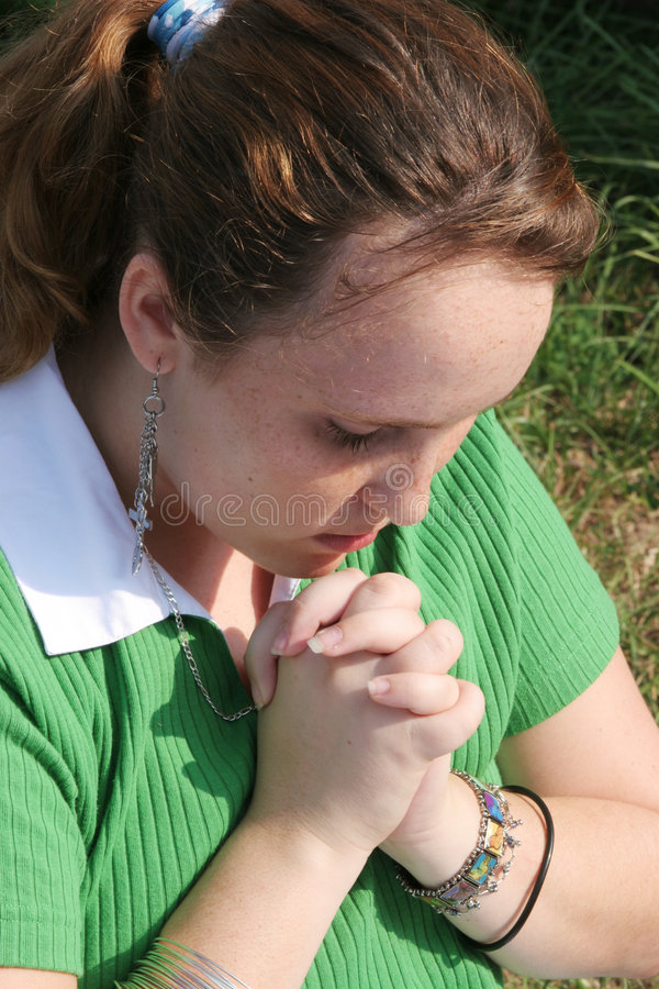 Download Red Haired Teen Praying 2 Royalty Free Stock Image - Image: 256416