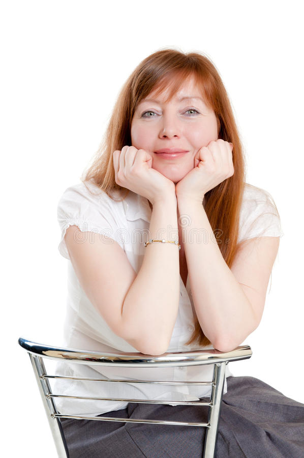 Download Red-haired woman stock photo. Image of informal, isolated - 14674478