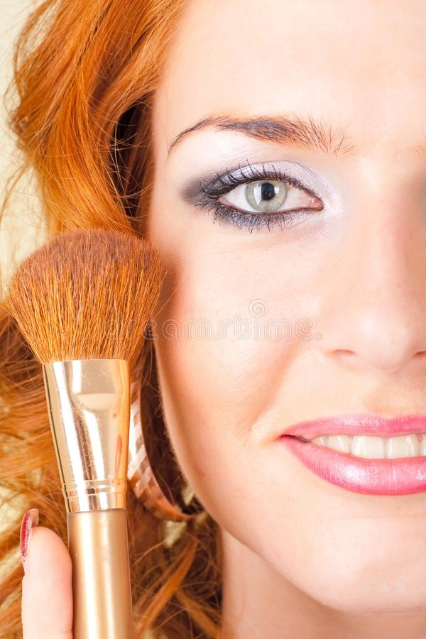 Red haired woman with make up royalty free stock photo