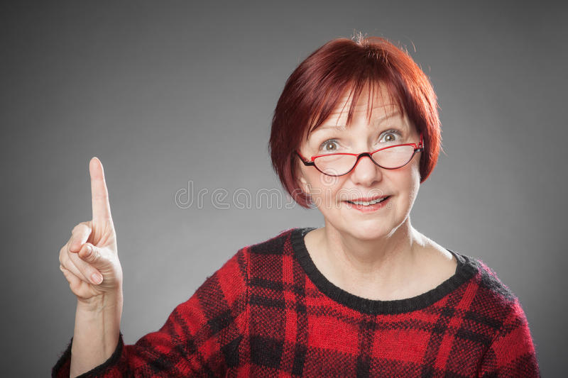Red-haired woman, Portrait, Facial expression, clever royalty free stock photo
