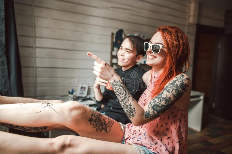 Teens with tattoos royalty free stock photos